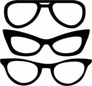 vintage glasses template, silhouette