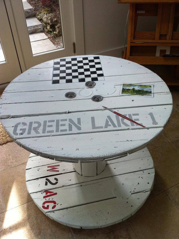 25 best ideas about large wooden spools on pinterest - Relooker une table en bois ...