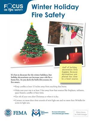 Winter Holiday Fire Safety Tips from the US Fire Administration and FEMA