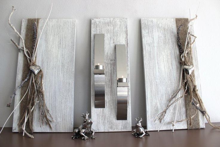 WD35 - Exclusive Wanddeko! Dreiteilige Wanddeko aus gebeizten und wei� geb�rstetem Holz! Dekoriert mit Edelstahlleisten, Filzband, Materialien aus der Natur und Edelstahlherzen! Gesamtbreite 80cm - H�he 60cm - Preis 119,90%u20AC