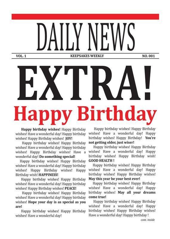 Free Printable Birthday Newspaper Items Similar To Newspaper Card Birthday Wishes Card Birthday Wishes Cards Happy Wishes Free Greeting Card Templates