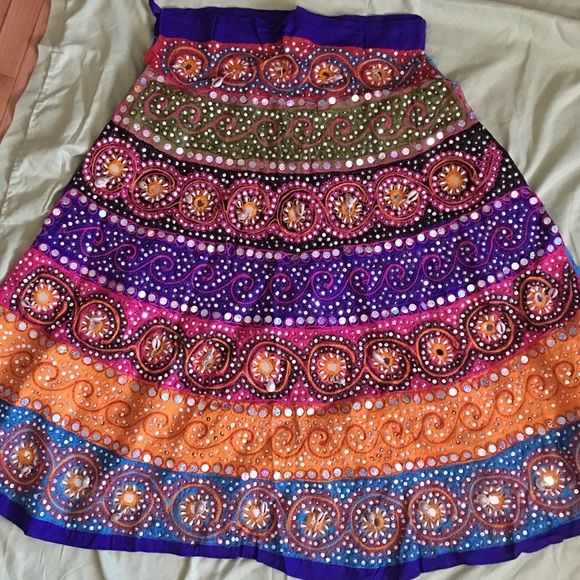 Colorful Indian Skirt! Beaded & Sequins Colorful Indian Skirt! (Saree, Sari, Indian Wear) Ankle length Skirts A-Line or Full
