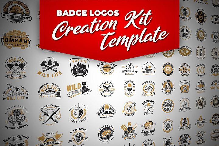 100 Retro Badge Logos Creation Kit 470307 Logo Font Bundles Badge Logo Logo Creation Logo Design Template