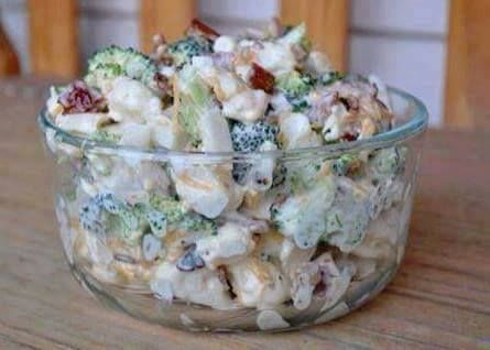 Ingredients 1 head broccoli, chopped 1 head cauliflower, chopped 1 cup mayonnaise 1 cup sour cream 1/2 cup sugar 1/2 teaspoon salt 1/2 pound bacon, fried and crumbled 1 cup shredded Cheddar cheese Directions Combine chopped broccoli and cauliflower in large bowl. In a separate bowl combine the mayon…