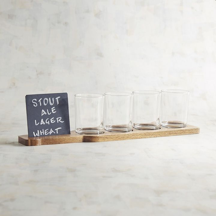 Pier 1 Imports Beer Flight Set Of 4 Glasses With Slate Board