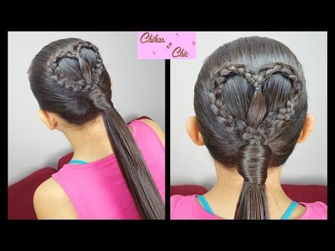Heart Ponytail (Quick and Easy)   Valentine's day Hairstyles   Chikas Chic - YouTube
