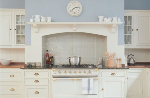 Incorporate your room's original features into your kitchen design. Here, a range cooker is set into the room's chimney breast to provide a focal point.