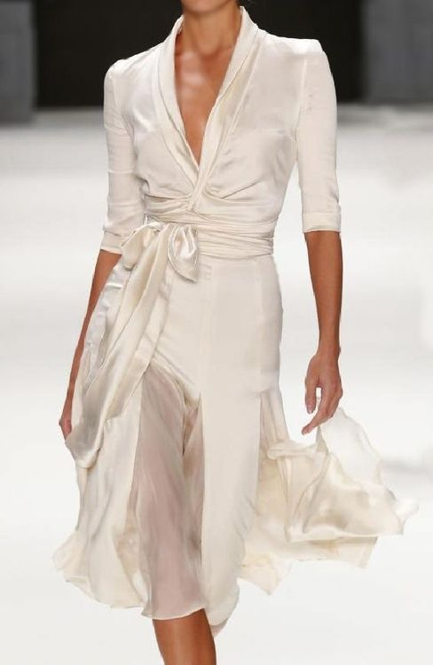 Satin wrap dress with chiffon inserts in ivory. Tuvanam S/S 2014  F
