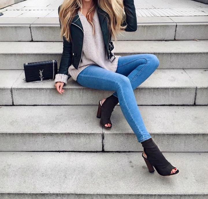 """fabulous-looks: """"Jacket Skinny Jeans Heels """""""