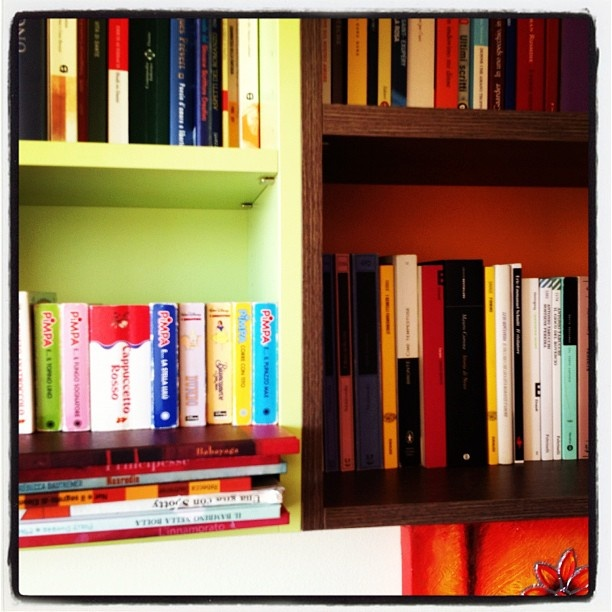 L'iconografia della madonna col bambino applicata alle librerie! I libri che Silvia leggeva da piccola ora tornano buoni per il suo pupo.