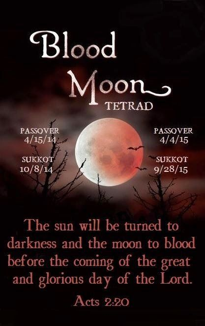 Blood Moons - This tetrad happens into 2015. PLEASE NOTICE that all of these dates fall on Israel's high holy days. This is a RARE event.