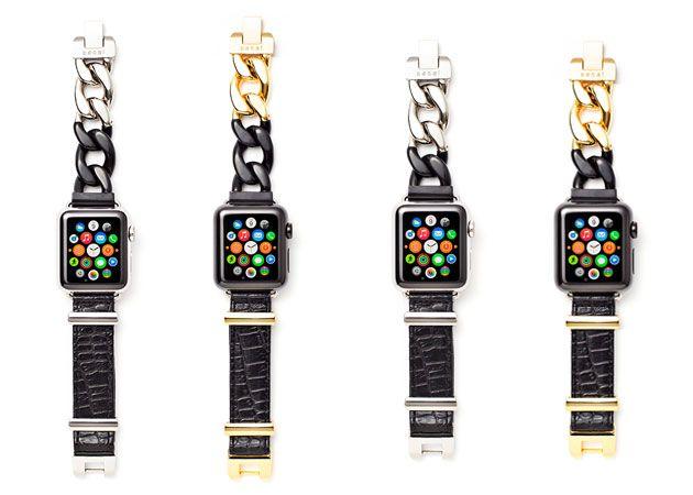 ストラップ 各¥35,000 38mmと42mmのアップルウォッチに対応。ゴールドとシルバーの2色展開