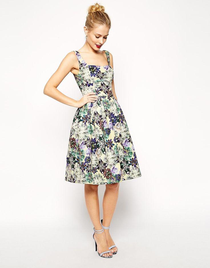 ASOS Premium Debutante Scuba Digital Jewel Print Midi Dress