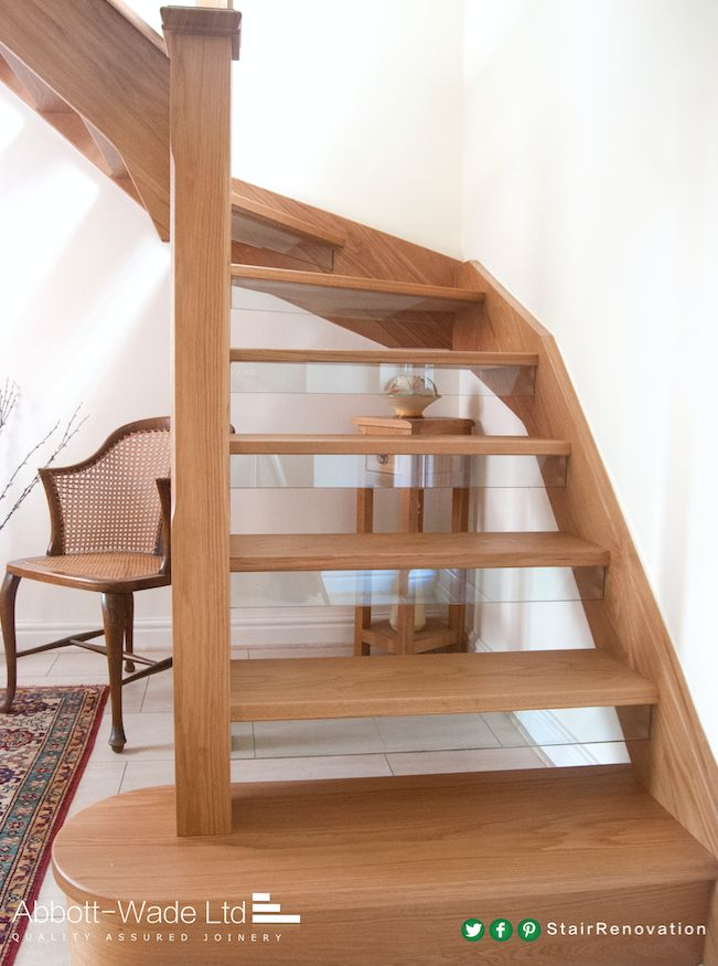Open tread oak staircase with glass down-stands   stairway ...
