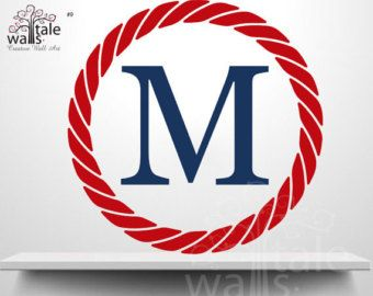 Nautical Rope Circle Wall Decal with Initial, nautical wall sticker for baby boy, red, navy, nautical decal, navy red decal - SKU09
