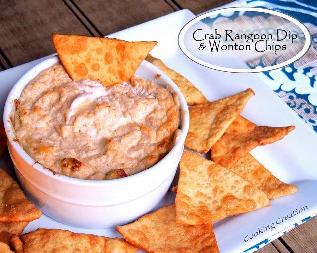 Baked Crab Rangoon Dip & Homemade Wonton Chips