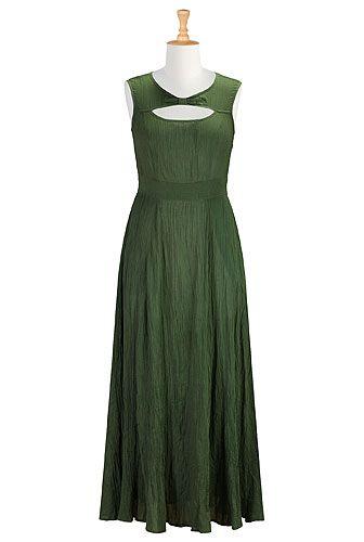 I <3 this Front cutout gauze cotton maxi dress from eShakti