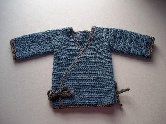 PDF Crochet Pattern Crochet Kimono Wrap Baby Sweater ...