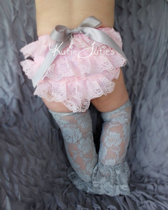 Cake Smash Set Pink and Gray Lace Diaper Cover by KutieTuties