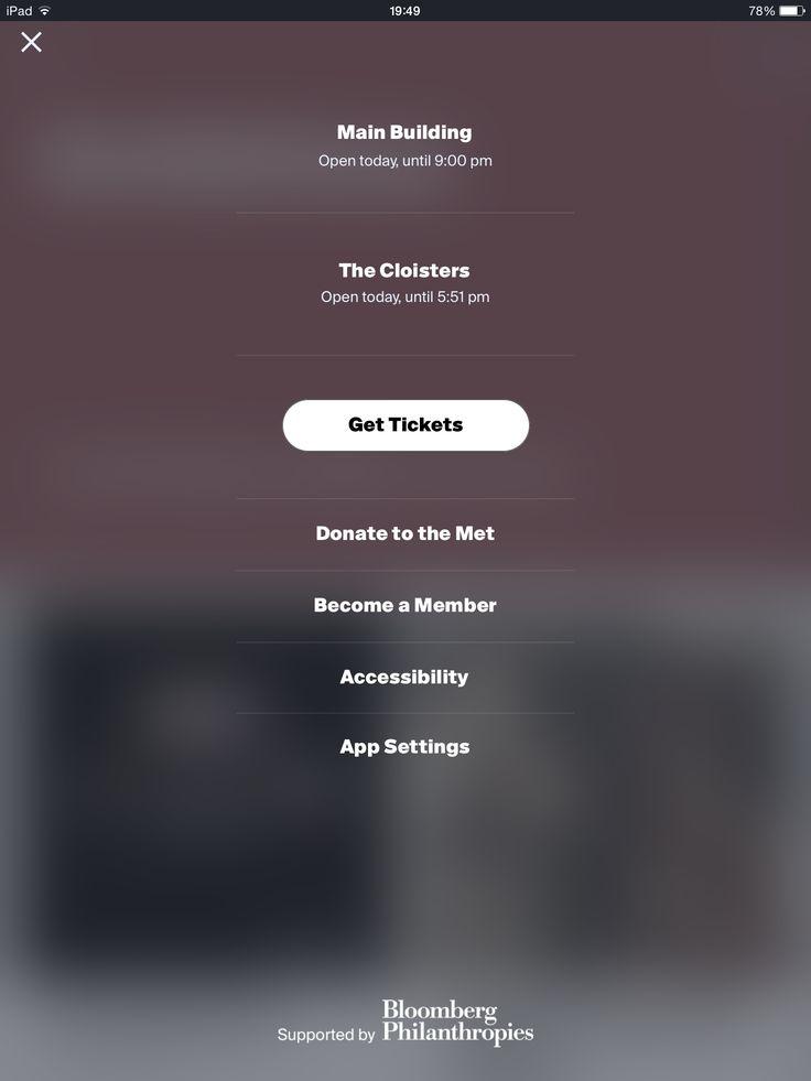 The met, options, overlay, iPad