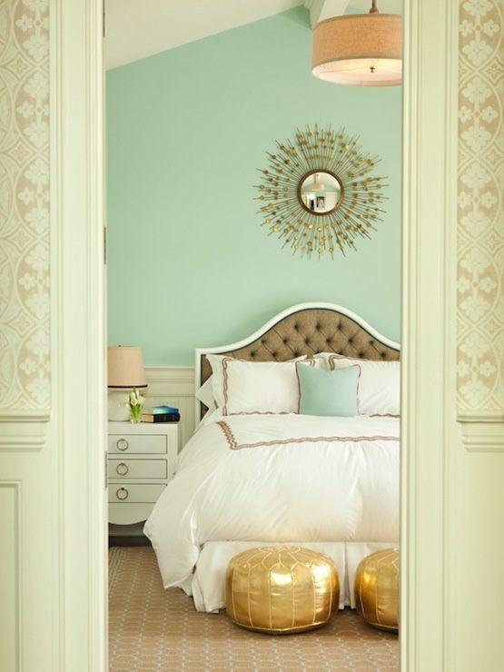 mint leeannthorntondesignsbedroom bedwhitelinensmintgreenpaintwallsgoldmoroccanpoufstuftedheadboardsunburstmirrorwalldecorcococozy - Great Bedroom Colors