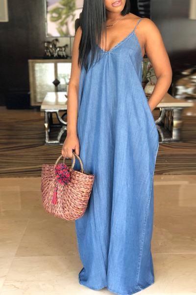 ce9610cd847 Sleeveless V Neck Long Plain Blue Denim Jean Tent Maxi Dress in 2019 ...