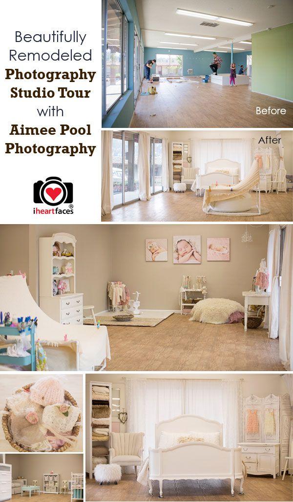 A Beautiful Photography Studio Makeover! Tour Aimee Pool Photography's studio via iHeartFaces.com