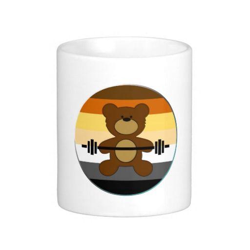 Teddy Bear Muscle Bear Pride Flag Circle Coffee Mugs