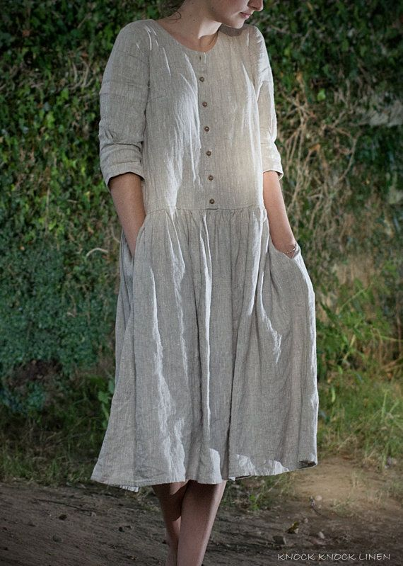 LINEN DRESS. custom length by KnockKnockLinen on Etsy
