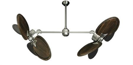50 inch Twin Star III Double Ceiling Fan - Arbor 950 Dark Walnut Blades