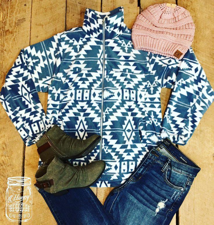 White and Navy Aztec Fleece Jacket