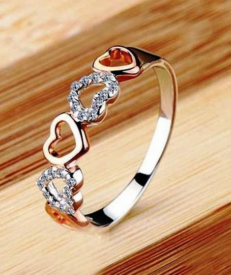 Romantic heart cubic women ring