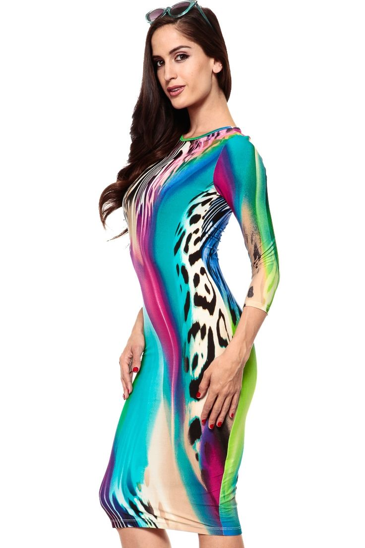 Animal Print Fusion Body Con Dress @ Cicihot sexy dresses,sexy dress,prom dress,summer dress,spring dress,prom gowns,teens dresses,sexy party wear,ball dresses