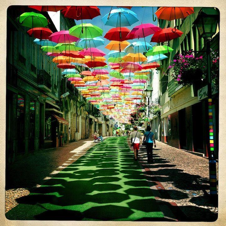 Street Art ~ Umbrella Sky, Águeda, Portugal by Patricia Almeida: Shades, Color, Umbrellas Street, Art Installations, Around The World, Place, Portugal, Photo, Floating Umbrellas