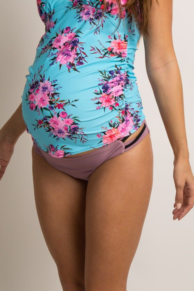 Solid reversible maternity bikini bottoms. Strappy side details. All swimwear sold as separates.