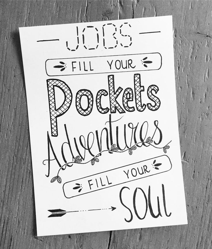 "Dag 6 van April. ""Jobs fill your pockets, adventures fill your soul"" #dutchlettering #dutchletteringchallenge #handlettering #handletteringchallenge #handletteringdaily #dailypost #font #lettering #letteringdesign #letteringchallenge #handmade #quote #leaves #arrow #letters #micronpen #pentaltouchpen #blackandwhiteletters #picture #paper #pen #artsy #beautiful #masterpiece #creative #photooftheday #instagood #haveaniceday #april #lettersbyberg"