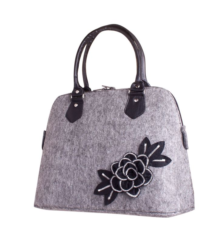 Floral felt bag Felted purse Black felt rose bag Felted handbag flower bag Flower woman's handbag Ladies purse Dual handles top zip closure by volaris on Etsy