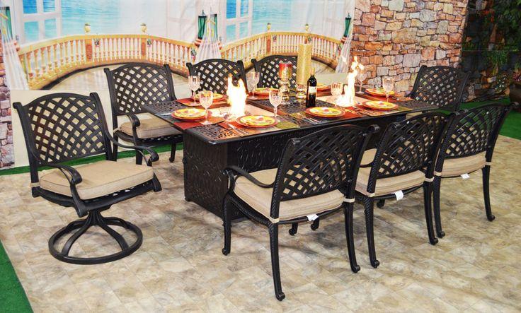 Luxury propane fire pit rectangle outdoor dining set 9 piece cast aluminum patio #Nassau