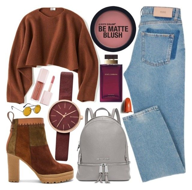 Untitled #772 by natallie on Polyvore featuring polyvore, мода, style, Uniqlo, See by Chloé, Michael Kors, Skagen, Spitfire, Shiseido, Dolce&Gabbana, Puma, fashion and clothing
