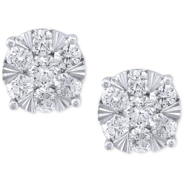Effy Diamond Stud Earrings (1-5/8 ct. t.w.) in 14k White Gold ($6,299) ❤ liked on Polyvore featuring jewelry, earrings, accessories, white gold, round earrings, 14 karat gold stud earrings, diamond jewellery, diamond jewelry and 14k earrings