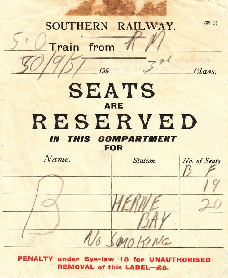 Southern railway seat reservation 1951