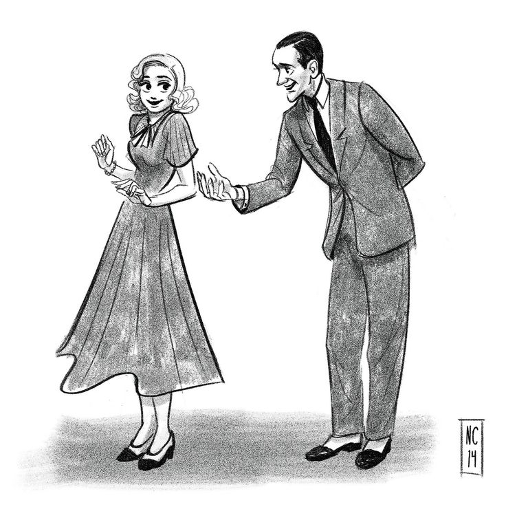 "Fred Astaire and Ginger Rogers by scribbledigooks on tumblr. I believe this is a pose from ""Shall We Dance"" (1937), but Ginger's dress is from ""Swing Time"" (1936), and his suit is from ""Top Hat"" (1935)  #artwork #popculture #swingtime #fredastaire #gingerrogers"