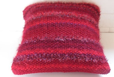 Mohair Cushion Knitting Pattern : Hand knitted striped cushion cover in red 100% wool and mohair combination wi...