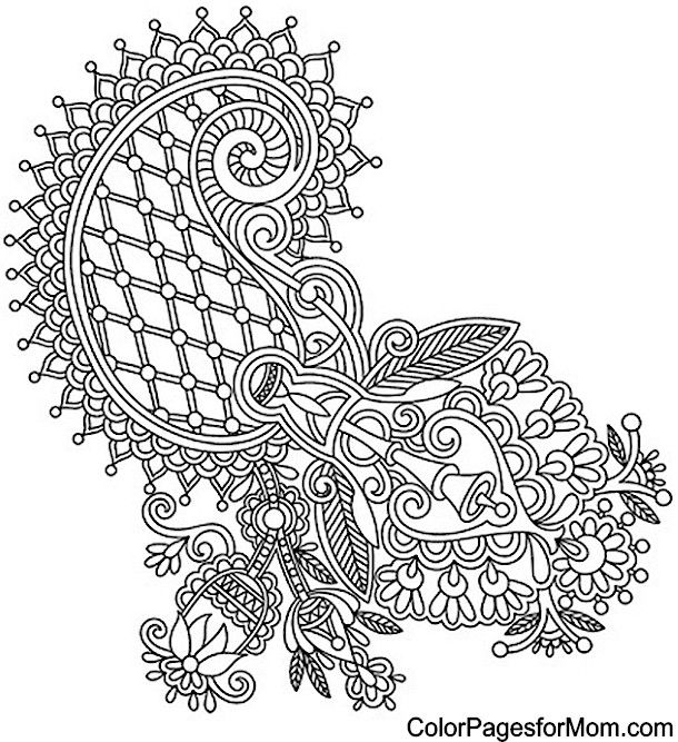 Paisley Peacock Coloring Pages Sketch Coloring Page