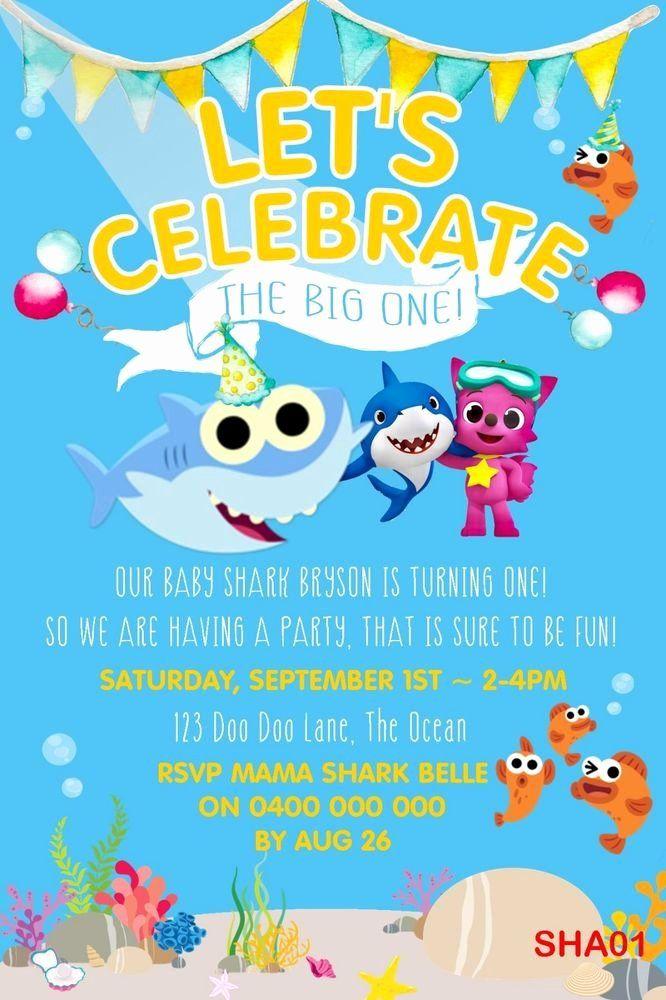 Shark Birthday Invitation Free Printables Lovely Personalised Baby Shark Shark Birthday Invitations Shark Themed Birthday Party Shark Birthday Party Invitation