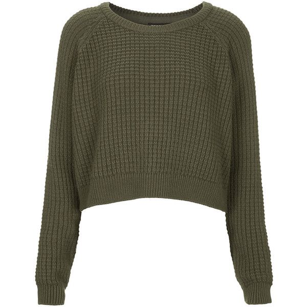 TOPSHOP Fisherman Cropped Sweater ($4.18) ❤ liked on Polyvore featuring tops, sweaters, jumpers, shirts, khaki, crop top, textured sweater, topshop jumper, cuff shirts and textured crop top