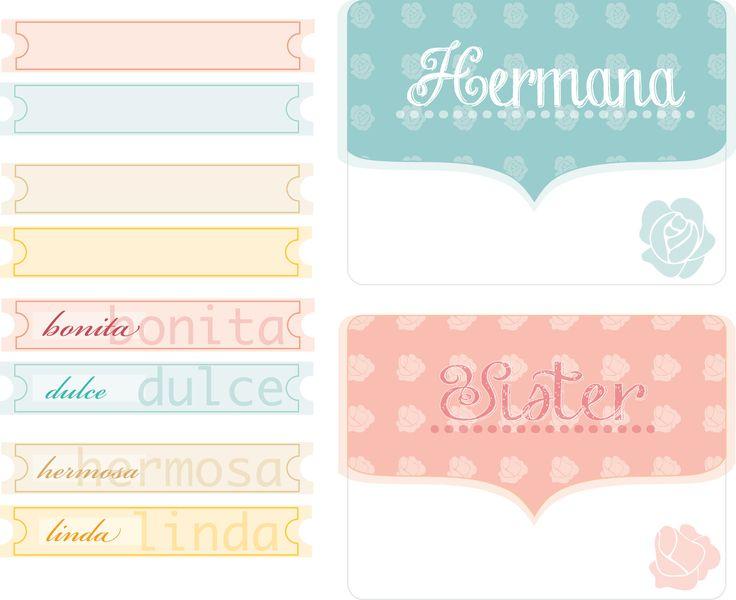 Hermana (sister)... free cards project life & journaling spanish&english, gratis tarjetas&etiquetas para project life en español...