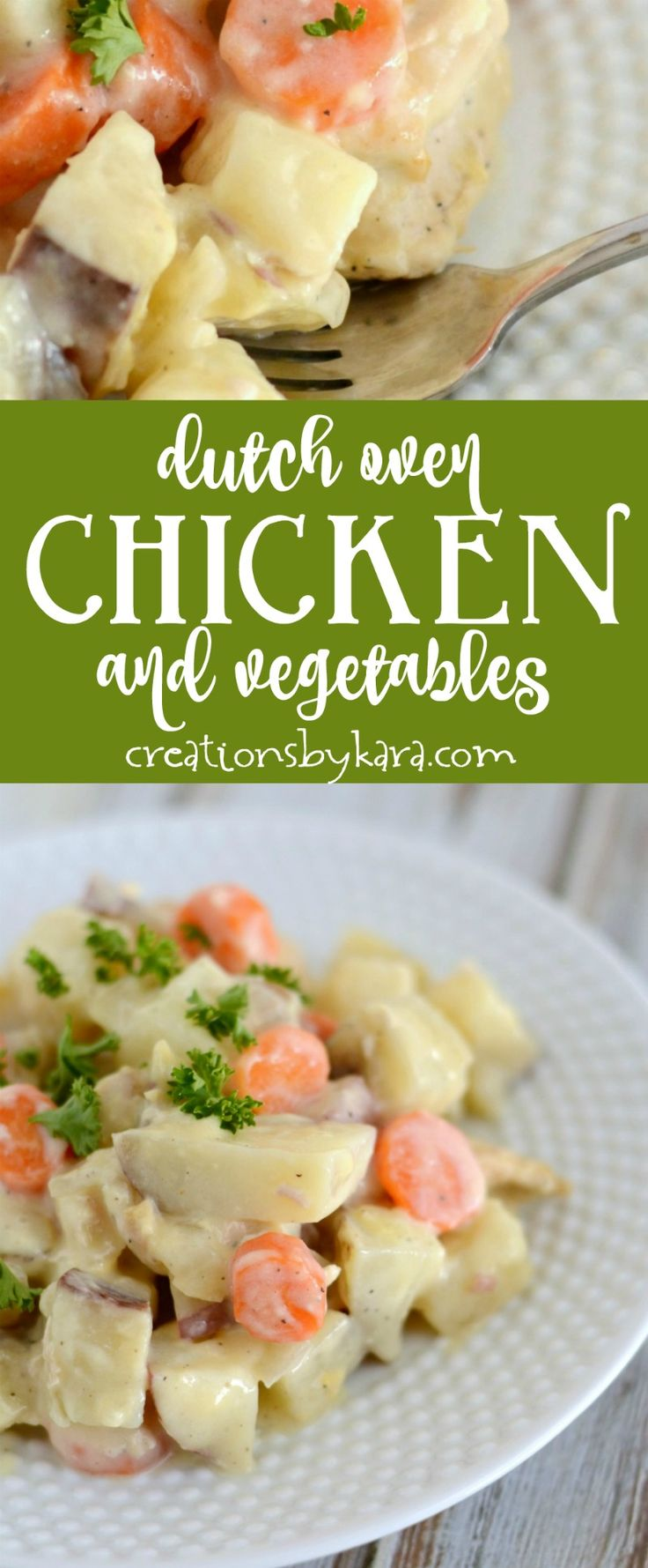 Chicken, potatoes, and carrots in a creamy sauce. Everyone loves this Dutch oven chicken recipe. And you bake it in the oven! via creationsbykara.com