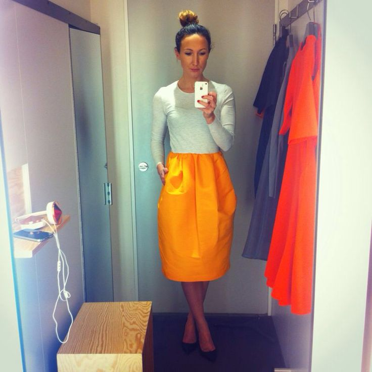 This COS dress with a bright tangerine taffeta skirt is a dream #COS #COSstores #tangerine