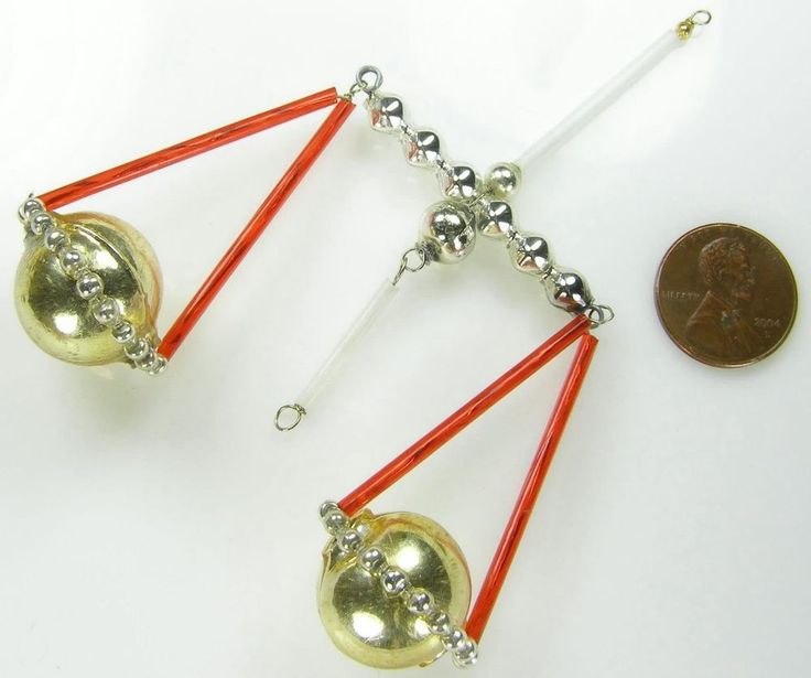 """Old Blown Glass Bead Wired Czech Christmas Decoration Scales Libra Red 4"""""""